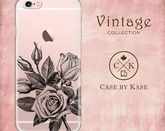 Vintage Rose - Clear iPhone 6 Case, iPhone 6s Case, iPhone 6 Plus Case, iPhone 6s Plus Case, Samsung Galaxy Case (VT0005)