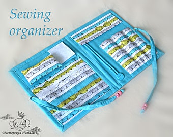 Turquoise sewing organizer Quilter holder Mannequin print cotton felted needle holder Sewing travel kit Ruler print craft tool organizer