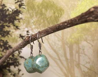 Blue-green Faceted Stone and Sterling Silver Earrings
