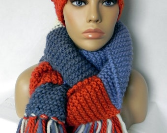 BOBBLE Hat * Cap * scarf * FRANSENSCHAL * set 2 piece SWL * Colourblocking * handmade *.