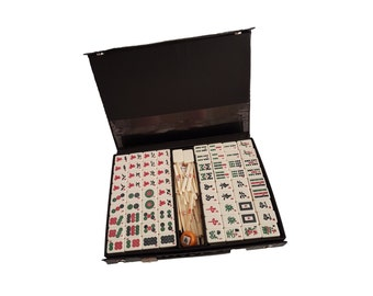 Vintage Mahjong game with four racks- Teak, bone and polystyrene #53A5EDX10