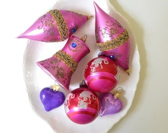 vintage glass christmas ornaments red pink purple ornate ornaments heart ornaments