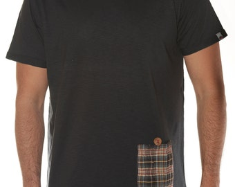 Black t-shirt with Pocket embossed fabric