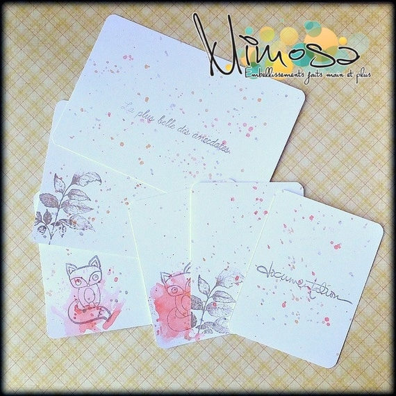 Cartes de journaling, Renard, Feuillage, aquarelle scrapbooking, PL, cartes de journalisation