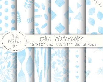 Blue Watercolour Digital Paper Pack, Watercolor Wallpaper,Digital Paper, Website Background, Planner Sticker Graphics, Repeating Pattern