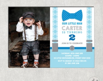 Little Man Birthday Invitation. Little Gentleman Photo Invitation. Bowtie First Birthday Invite. Suspenders. Mustache Party Invitation. L-M2