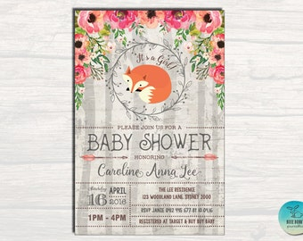 FOX BABY Shower Invitation. Woodland Baby Shower Printable. Girl Baby Shower Invite. Forest Baby Invite. Floral Cottage Chic. Baby Girl FOX1