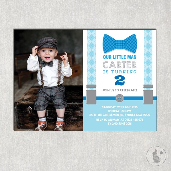 Little Man Birthday Invitation Little Gentleman Photo Invitation