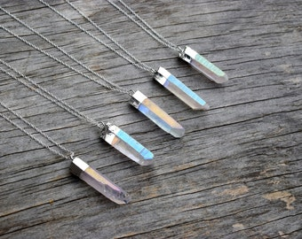 Angel Aura Crystal Necklace, Silver Plated Aura Quartz Druzy Necklace, Raw Crystal Jewelry, Angel Aura Titanium, Unique Quartz Pendant