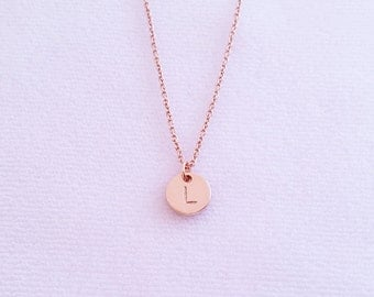 Personalized Tiny Rose Gold Disc Necklace, Hand Stamped Initial Charm Necklace, Bridesmaid Gift, Monogram Circle Pendant