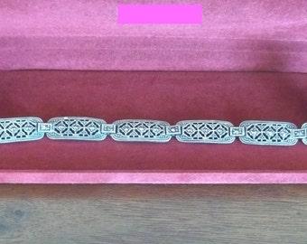 Vintage Art Deco Sterling Silver and Marcasite Bracelet