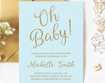 Baby Shower Invitation Boy, Confetti Baby Shower Invitation, Blue And Gold, Glitter, Oh Baby