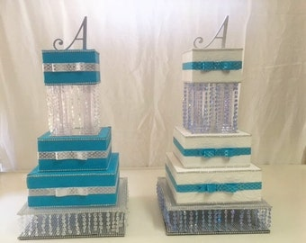 Bat Mitzvah Centerpiece: Blue, White and Silver Cake Centerpiece for Bat Mitzvah, Wedding, Birthday Party or Quinceanera