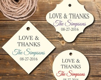 Personalized favor tags,  Love & Thanks Gift Tag, Set of 12, PC0203