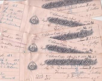 Vintage 1897 Banking Checks Oregon Astoria National Bank Used Checking Paper Old Penmanship Writing Art Crafting Scrapbooking Craft Supplies