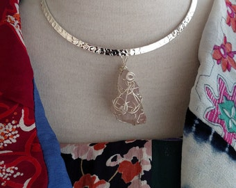 """Hand made, Wire Wrapped, Rough Stone,Rose Quartz, Natural Crystal, Healing, Gemstone  2 1/4"""" With Bail.Includes 16.5"""" silver collar Necklace"""