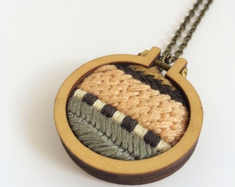 Embroidered necklace – peach, khaki and charcoal – embroidery hoop necklace – embroidered jewelry – embroidered pendant