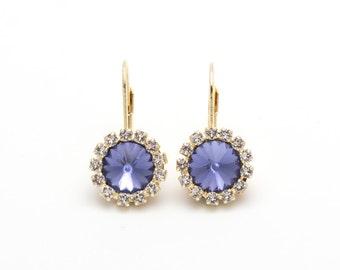 Swarovski Earrings, Violet, Gold or Silver