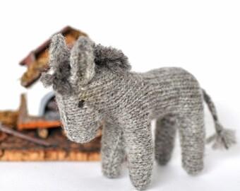 Toy donkey knitted of wool - knitted donkey - waldorf toy - knitted toy - knitted animal - waldorf donkey - lovely donkey