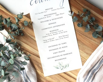 watercolor calligraphy wedding program | custom wedding program | ceremony program | olive branch | modern calligraphy | watercolor