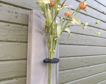 Country Home Decor. Wood Wall Sconce. Mason Jar Sconce. Sconce. Shabby Chic. Cottage Chic. Rustic Kitchen Decor. Vase. (Rustic Wall Sconce)