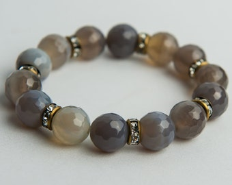 Grey Fire Agate Bracelet
