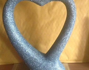 Aqua glittered heart sculpture