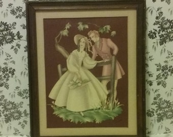 Antique Victorian lithograph, Victorian courting lovers, Lithograph signed by Brewster, Victorian cottage, French cottage