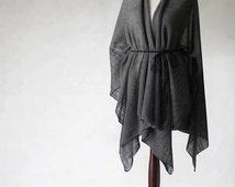 pure linen poncho, wrap sweater, wrap poncho, linen sweater, knit poncho, linen cape, women poncho, women sweater,natural poncho,linen scarf
