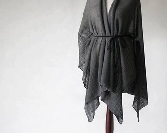 pure linen poncho, wrap sweater, wrap poncho, linen sweater, knit poncho, linen cape, women poncho, women sweater,natural poncho,linen scarf