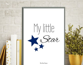 Baby boy nursery, Poster quote, Nursery art boy, Baby nursery art, Baby illustration, Quote my little star, Nursery art print, Baby quote