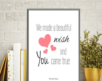 Birth gift baby girl, Poster baby, Nursery art girl, Baby girl wall art, Baby girl nursery, Baby girl decor, Poster quote, Quote baby, Gift