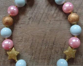 Twinkle Twinkle Little Star Necklace, Twinkle Twinkle, Bubblegum Necklace, Chunky Beads, Chunky Bead Necklace, Mint & Pink Necklace, Star