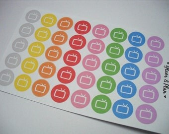 40 Television TV Planner Stickers | Erin Condren Filofax Happy Planner Kikki K