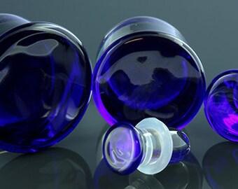 "Blue Colorfront single flare glass plugs:  14g, 12g, 10g, 8g, 6g, 4g, 2g, 0g, 00g (10mm), 7/16"" (11mm), 12mm, 9/16"" (14mm), 5/8"" (16mm)"