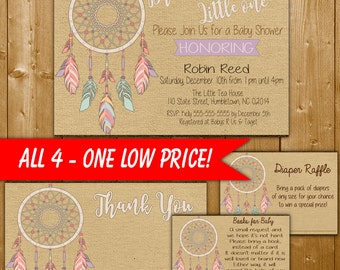 Dreamcatcher Baby Shower Invitation Set, Dream Big Little One, Diaper Raffle, Books for Baby, Thank You Card Dream Catcher Printable