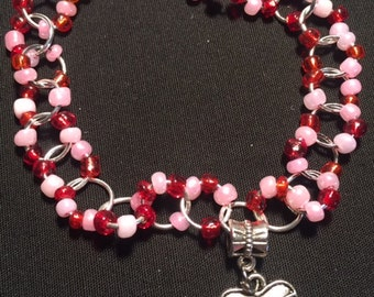 Pink/Red/Silver Beaded Bracelet with Love Charm