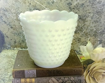 Vintage White Hobnail Milk Glass Bowl Vase White Bowl wedding gift, Wedding Centerpiece, Milkglass vase, bathroom decor, pencil holder