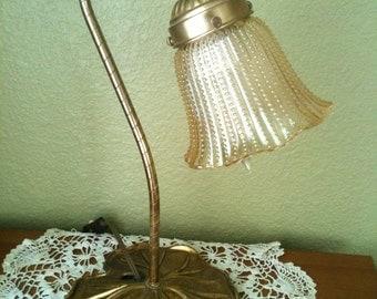 Vintage Lily Pad design brass/bronze goose neck lamp