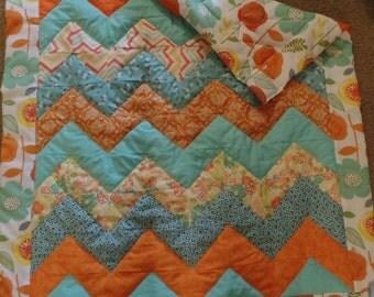 Blue and Orange Cheveron Baby Quilt