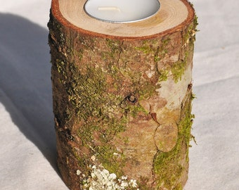 Tree Branch Candle Holder, Mossy Wood Candle Holder, Rustic Wedding Candle Holder, Rustic Candle Holder, Rustic Decor