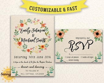 Printable wedding invitation template Wedding invitation printable Wedding invitations set Rustic wedding invites template download Invites