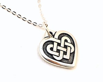 Celtic Heart Necklace / Silver Celtic Heart Knot Necklace / Silver Heart / Sterling silver chain