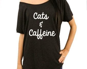 Cats & Caffeine T-Shirt, Cat Lover T-Shirt, Funny Graphic Tee, Cat shirt, Brunch, Cats and Caffeine, womens t-shirt, coffee, summer t-shirt