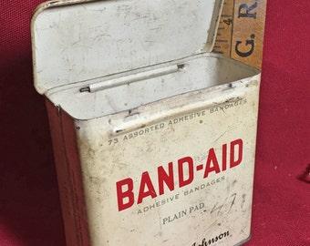 VIntage Metal 1940-1950s Band-Aid Adhesive Bandages Johnson & Johnson Tin