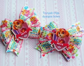 Paw Patrol Skye Hair Bow Paw Patrol Bow Skye Pinwheel Bow Paw Patrol Party Paw Patrol Birthday Skye Hair Bow Gift for Girl Baby Hairclip