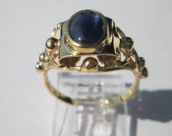 14kt Yellow Gold Cabochon Sapphire Ladies Ring, Sapphire Ring, Sapphire Gold Ring, Sapphire Gold Ladies Ring, Cabochon Sapphire Ring