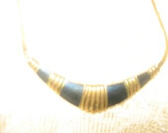 Royal Blue & Gold Choker Necklace/Vintage AVON Jewelry