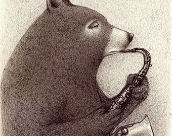 Bear and Mouse Jazz Illustration from an original ballpen drawing