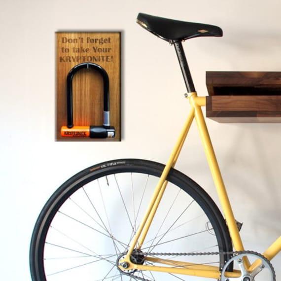 items similar to bike lock wall holder kryptonite u lock hanger bicycle lock. Black Bedroom Furniture Sets. Home Design Ideas